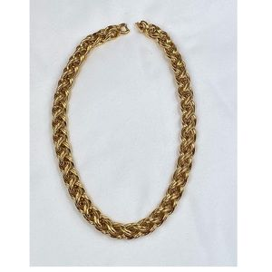"""Monet Rope Chain Necklace Gold Tone VTG Signed 18"""""""